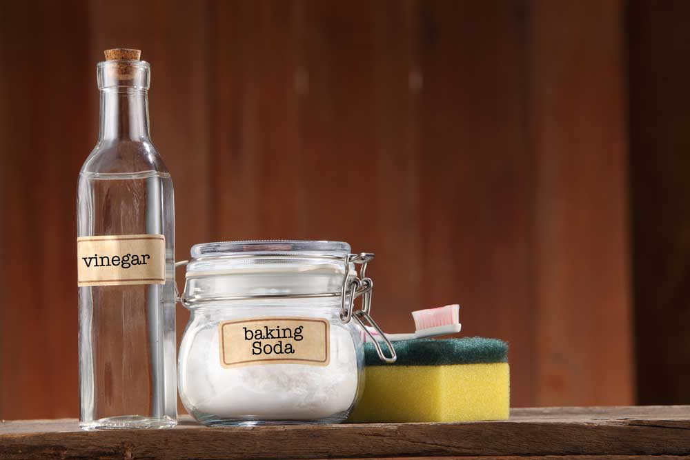 a bottle of vinegar and jar of baking soda with a sponge and toothbrush on a wooden table