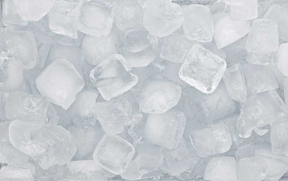 a top view of a pile of ice cubes
