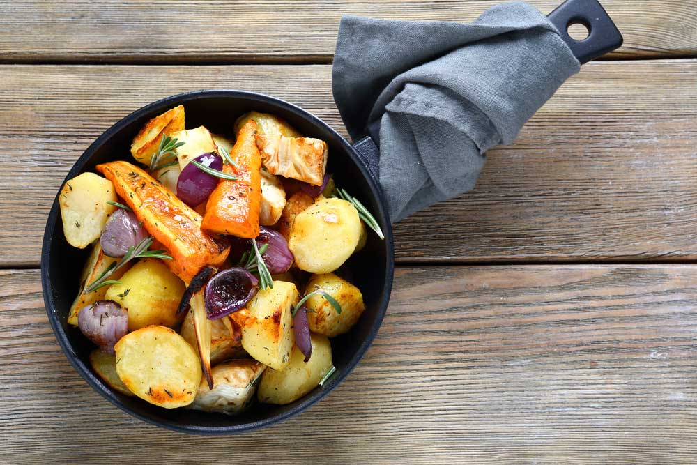 Roast Vegetables in a cast iron skillet