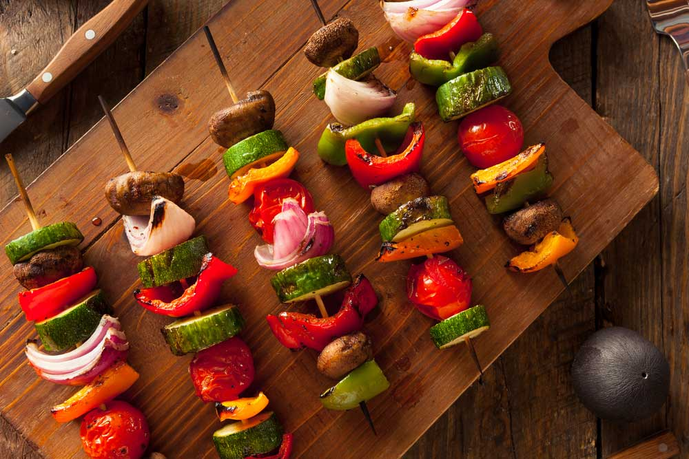 Vegetable Kabobs on a cutting board