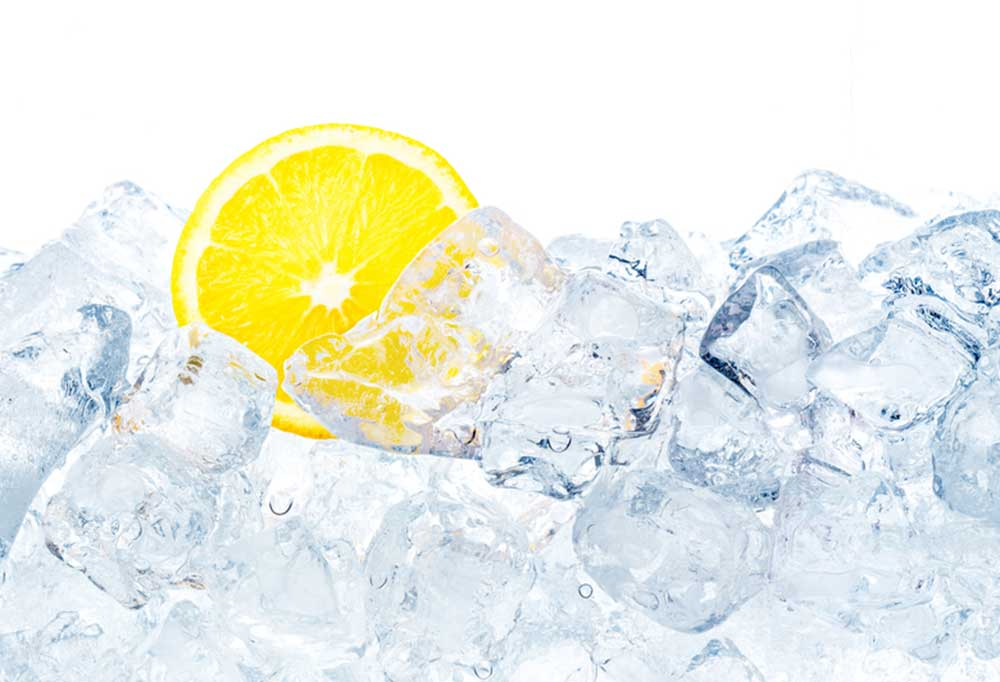 Lemon slice in pile of ice