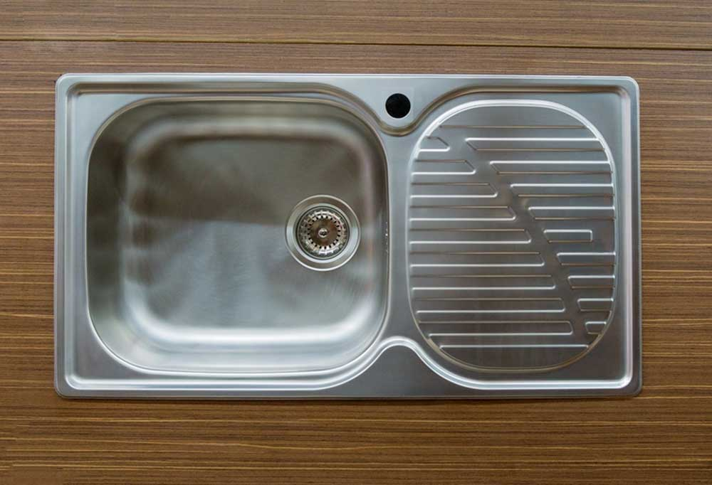 Top view of kitchen sink