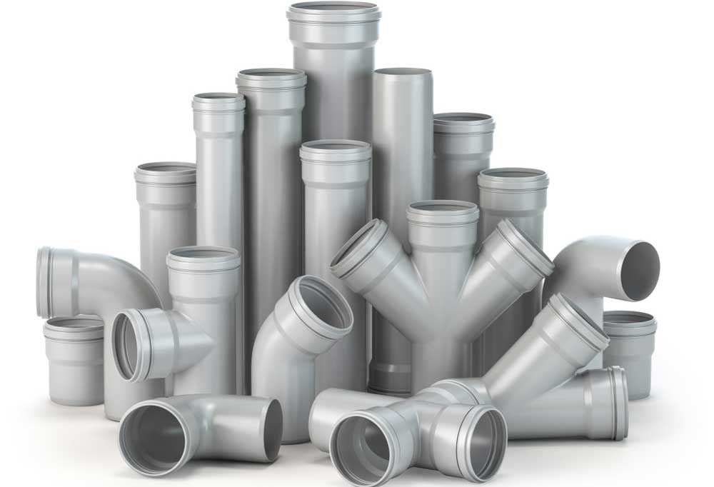 Various types of PVC pipes and fittings