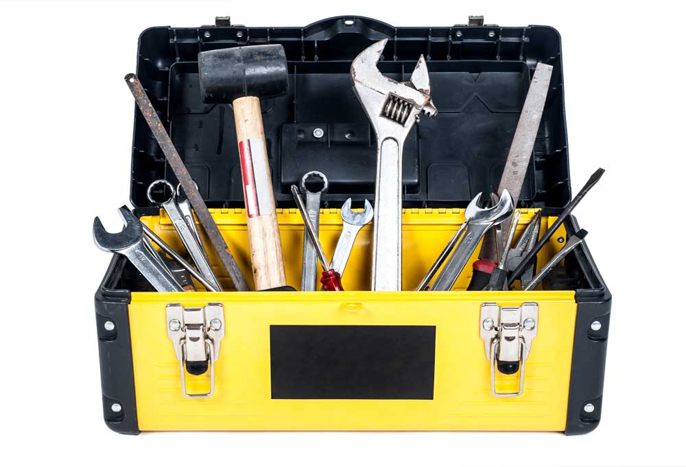 Black and yellow tool box on white background