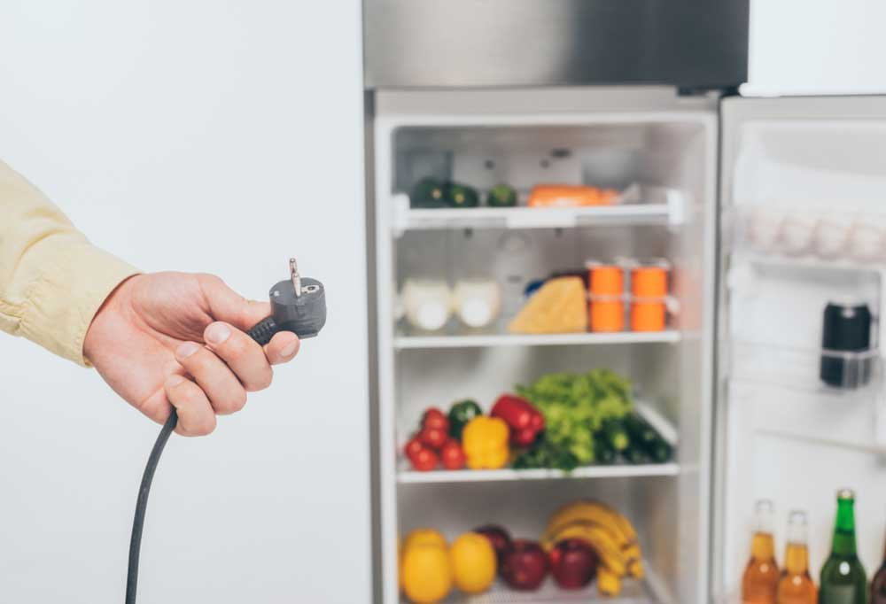 Man holding unplugged cord from refrigerator with fridge in background.