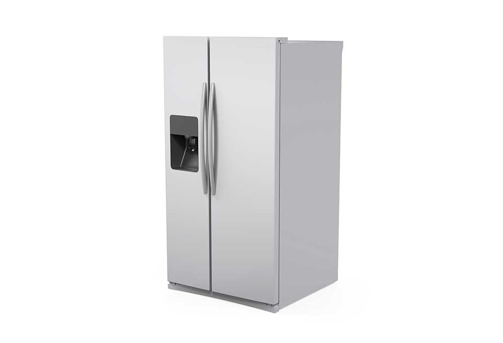 Grey side by side refrigerator on a white background