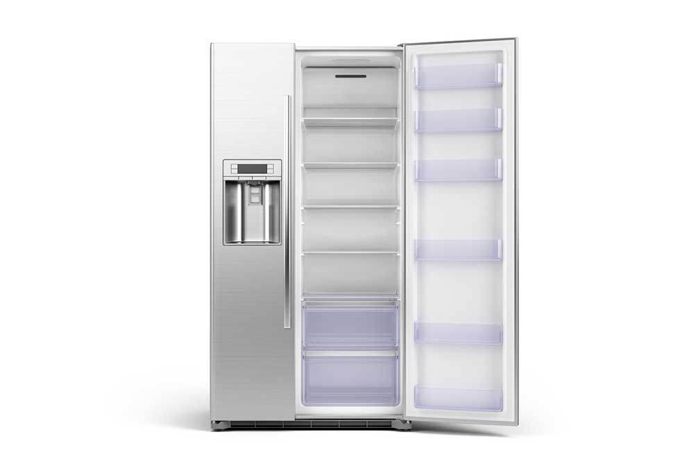 side by side stainless steel refrigerator with water dispenser on a white background