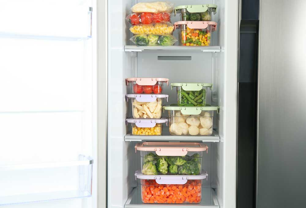 fridge organized with sealed food storage containers