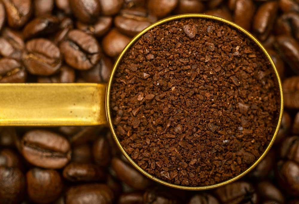 Fresh Coffee Grounds in a measuring spoon on top of fresh coffee beans