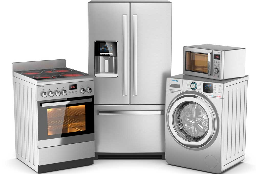 Stainless steel appliances on a white background