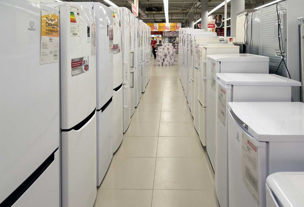a view down the appliance isle in a big box store