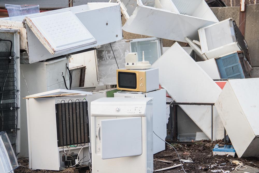 Junk yard full of old appliances