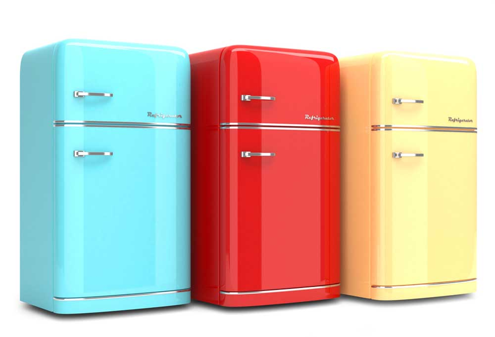 Teal, red, and yellow refrigerators standing side by side on a white background