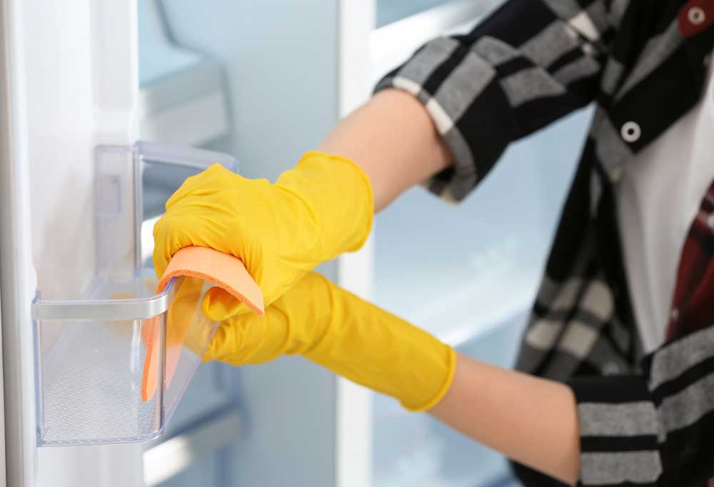 Person wearing flannel shirt and yellow gloves scrubbing inside the door of a fridge