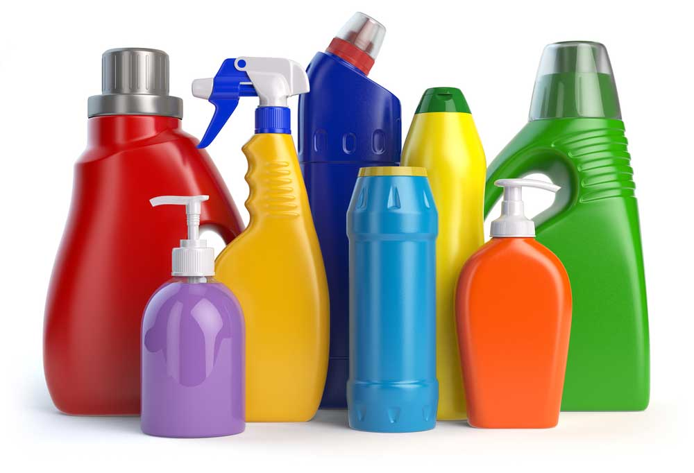 Brightly colored bottles of cleaning agents