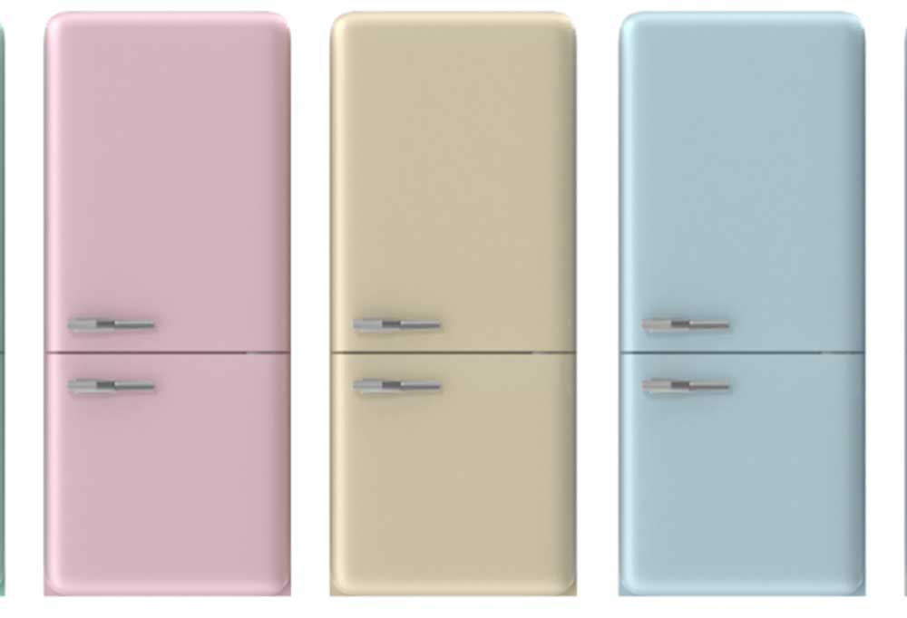 Pink, blue and yellow refrigerators lined up side by side on a white background