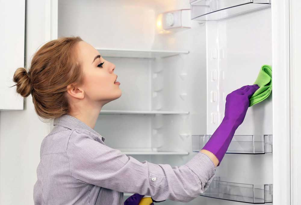 Woman with hair in a bun, wearing purple gloves, and wiping out the fridge with a green rag.