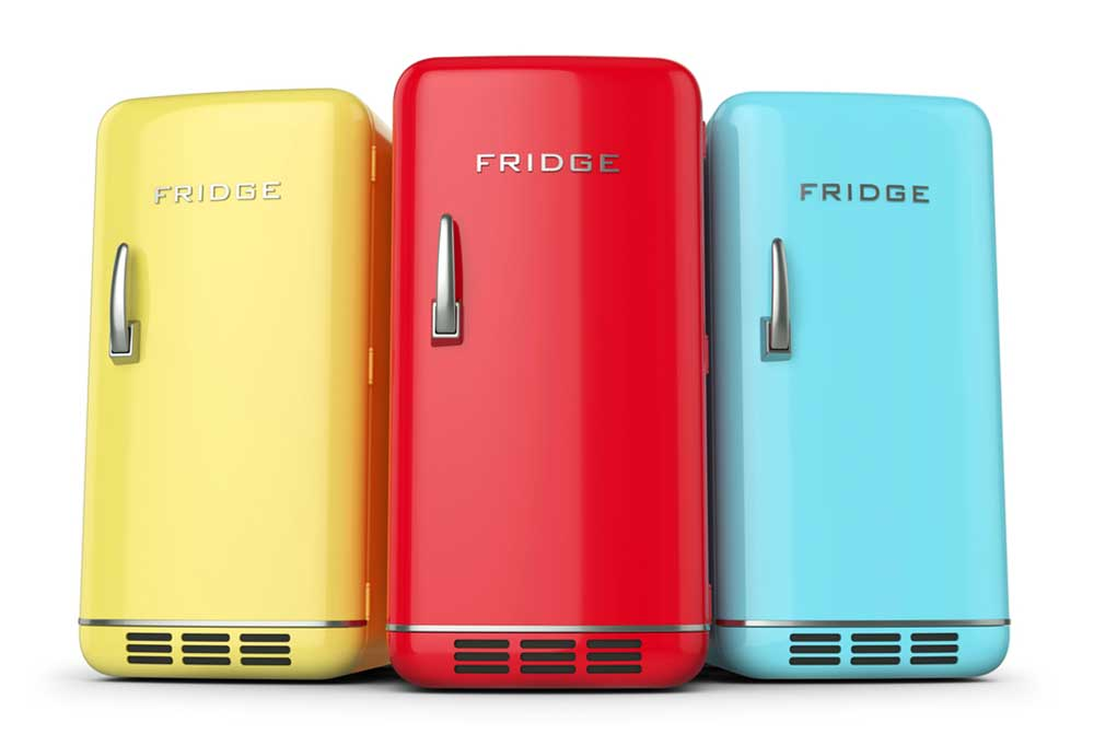 3 Brightly colored fridges (Yellow, Red, and Blue) on a white background.