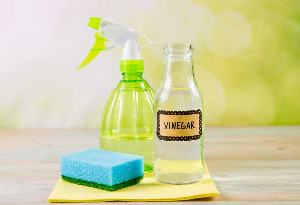 """Glass bottle with a label that reads """"Vinegar"""" , a spray bottle, and a blue sponge on a yellow cloth"""