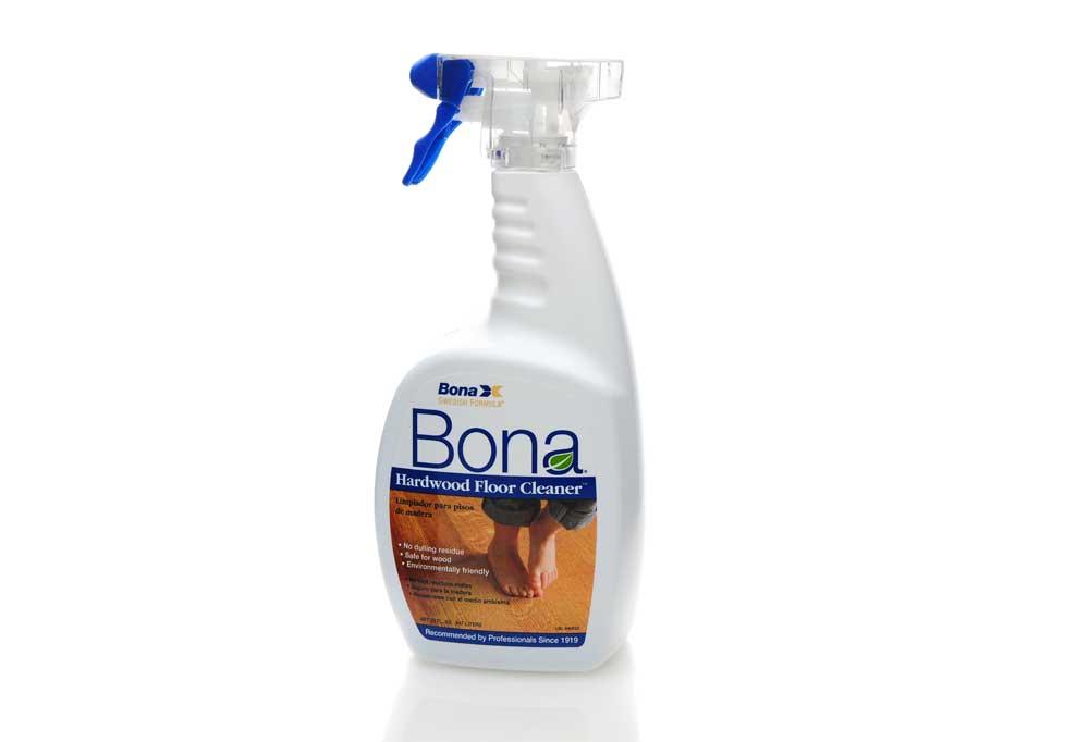 Spray bottle of Bona Hardwood Floor Cleaner isolated on a white background.