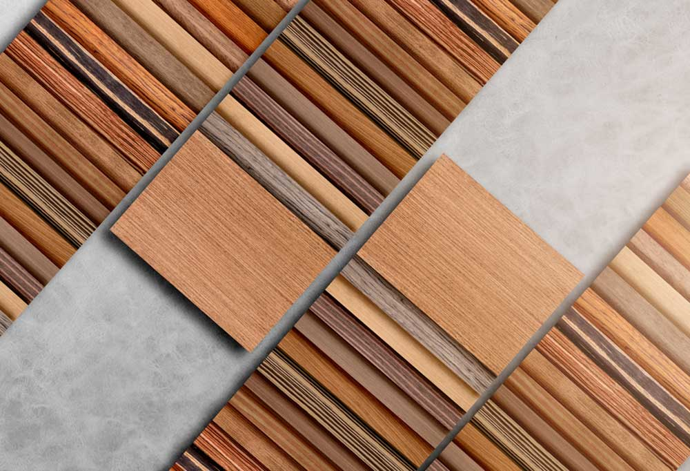 Variety of hardwood plank samples in different finishes