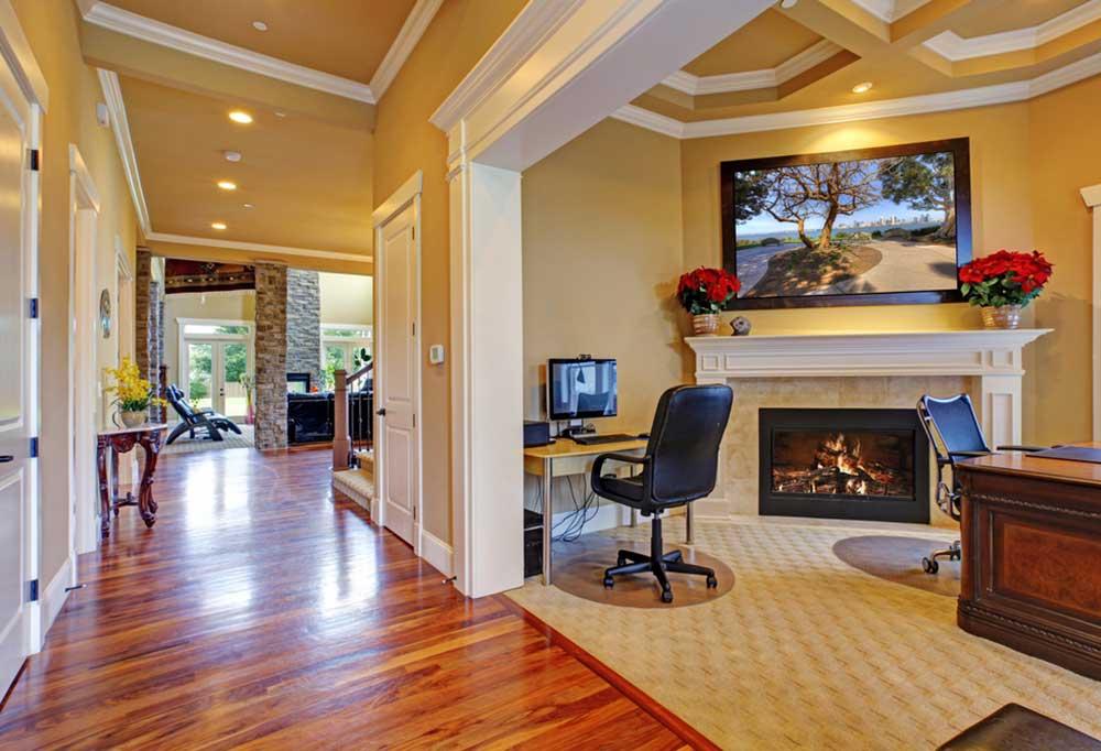shiny hardwood floors in a beautiful modern home.