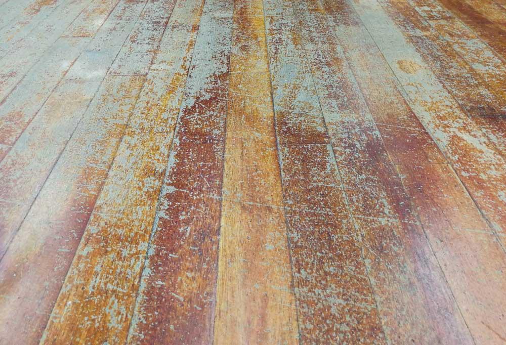 Old scratched hardwood floors